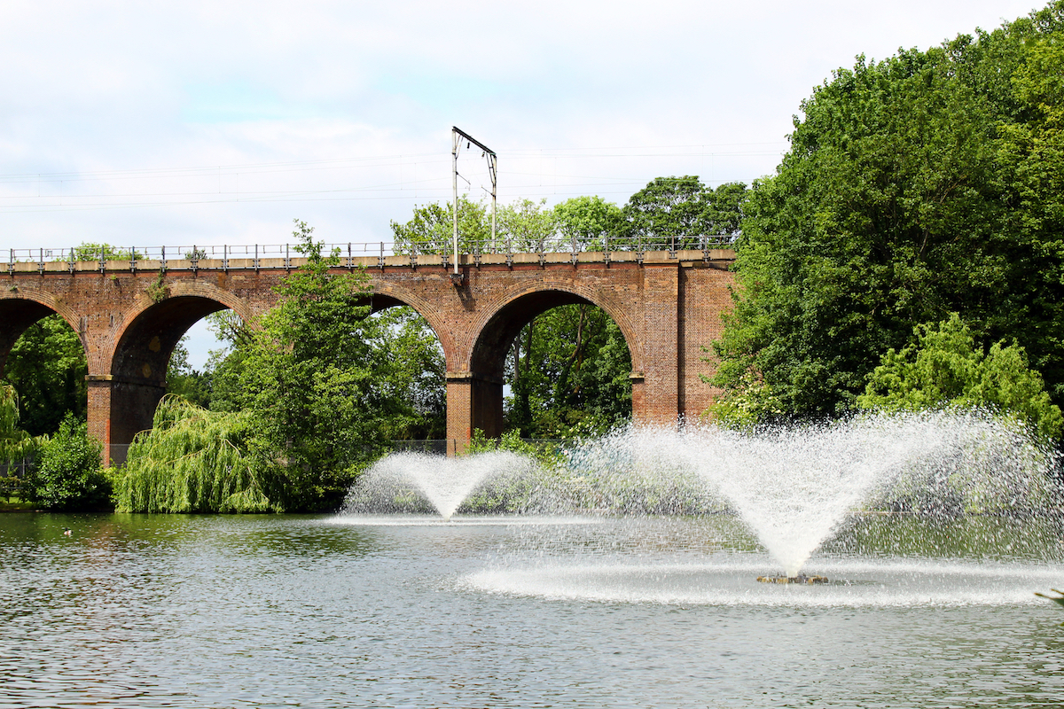 Beautiful viaduct over Central Park in Chelmsford, Essex