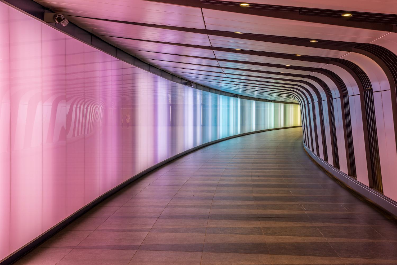 King's Cross futuristic looking tunnel, London, UK